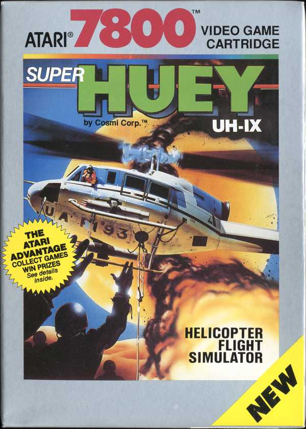 Super Huey UH-1X Atari 7800 cover artwork
