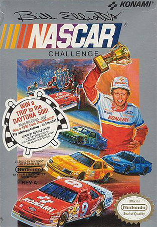 Bill Elliott's NASCAR Challenge Nintendo NES cover artwork