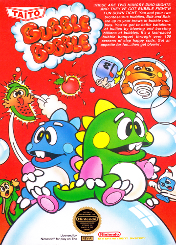Bubble Bobble Nintendo NES cover artwork