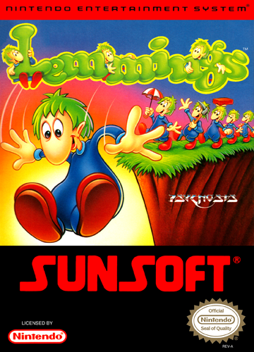 Lemmings Nintendo NES cover artwork