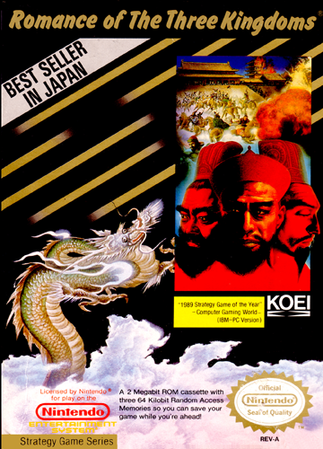 Romance of the Three Kingdoms Nintendo NES cover artwork