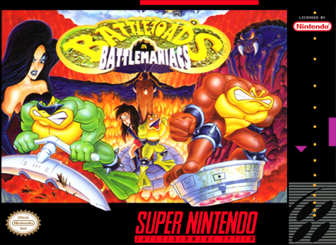 Battletoads in Battlemaniacs Nintendo Super NES cover artwork