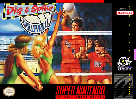 Dig & Spike Volleyball Nintendo Super NES cover artwork