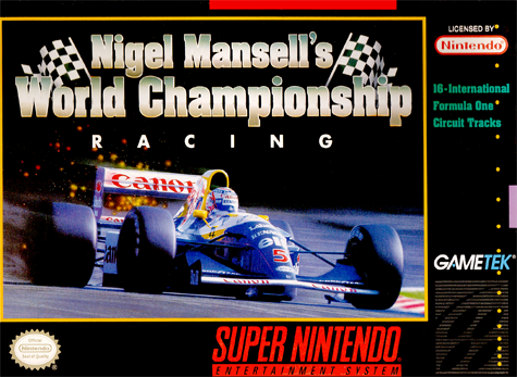 Nigel Mansell's World Championship Racing Nintendo Super NES cover artwork