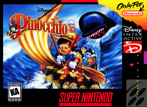 Pinocchio Nintendo Super NES cover artwork