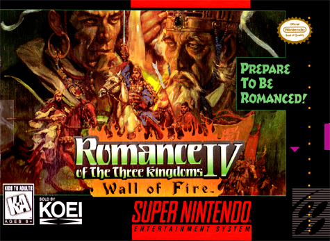 Romance of the Three Kingdoms IV - Wall of Fire Nintendo Super NES cover artwork