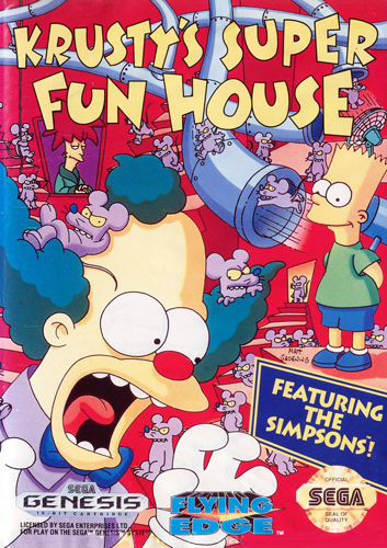 Krusty's Super Fun House Sega Genesis cover artwork