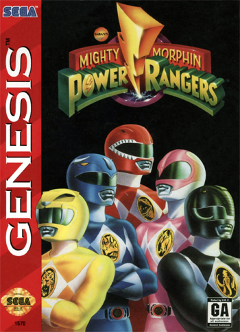 Mighty Morphin Power Rangers Sega Genesis cover artwork