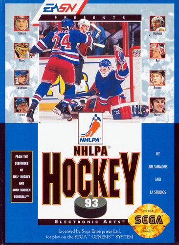 NHLPA Hockey 93 Sega Genesis cover artwork