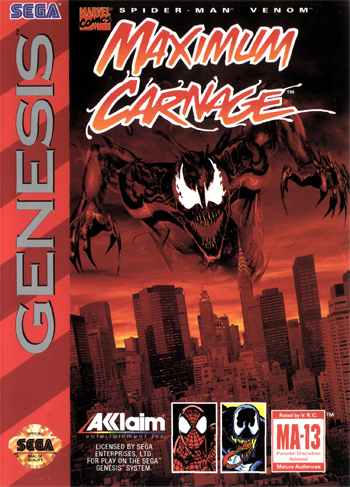 Spider-Man . Venom - Maximum Carnage Sega Genesis cover artwork