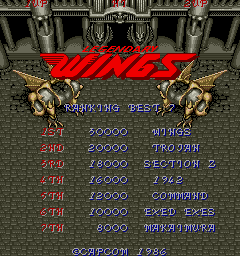 Legendary Wings title screenshot