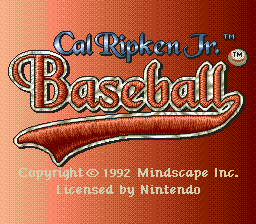 Cal Ripken Jr. Baseball title screenshot