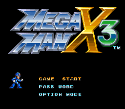 Mega Man X3 title screenshot