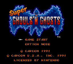 Super Ghouls'n Ghosts title screenshot