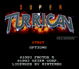 Super Turrican title screenshot