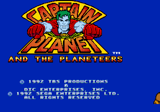 Captain Planet and the Planeteers title screenshot