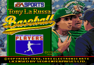 Tony La Russa Baseball title screenshot