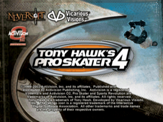 Tony Hawk's Pro Skater 4 title screenshot