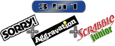 Three-in-One Pack - Sorry! + Aggravation + Scrabble Junior logo