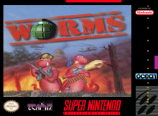 Worms Nintendo Super NES cover artwork