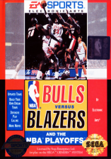 Bulls versus Blazers and the NBA Playoffs Sega Genesis cover artwork