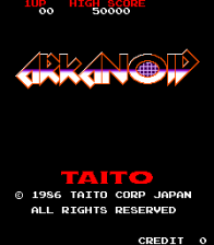 Arkanoid title screenshot