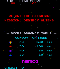 Galaxian title screenshot