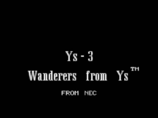 Ys III - Wanderers from Ys title screenshot