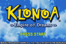 Klonoa - Empire of Dreams title screenshot