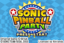 Sonic Pinball Party title screenshot