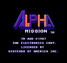 Alpha Mission title screenshot