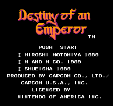 Destiny of an Emperor title screenshot