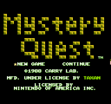 Mystery Quest title screenshot
