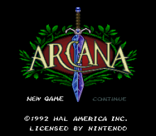 Arcana title screenshot
