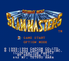 Saturday Night Slam Masters title screenshot
