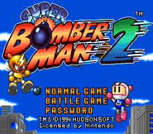 Super Bomberman 2 title screenshot