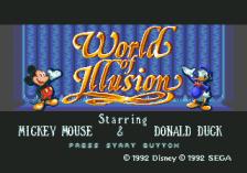 World of Illusion Starring Mickey Mouse and Donald Duck title screenshot