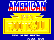 American Pro Football title screenshot