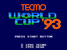 Tecmo World Cup '93 title screenshot