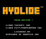 Hydlide title screenshot