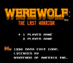 Werewolf - The Last Warrior title screenshot