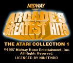 Arcade's Greatest Hits - The Atari Collection 1 title screenshot